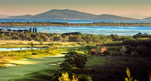 Main pic panorama of argentario golf course overlooking the orbetello lagoon
